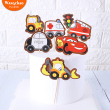 1 Set Double-Layers Cartoon Cars Vehicle Transport Submarine Theme Cake Topper Party Supplies Kids Favors Cupcake Toppers