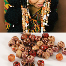 100 PCs/bag 9*10mm Aperture: 3mm Hole Wooden Hair Beads Wood African Ha