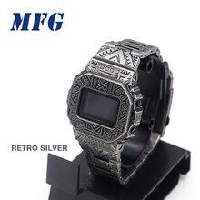 Retro Watchband GWM5610 DW5600 zegarek pasek i obudowa bezel zestaw metalowa bransoleta ze stali nierdzewnej pas stalowy akcesoria