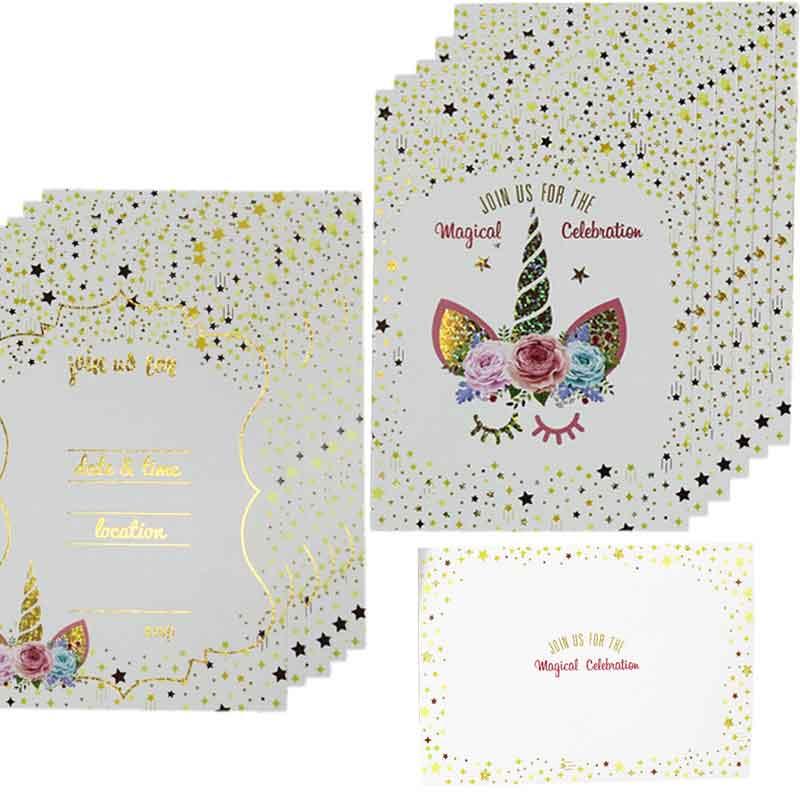 30 Unicorn Birthday Invitations with Envelopes Kid Magical Birthday Party Girl