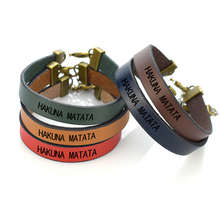 Hakuna Matata Simple Inspirational Letters Engraved Leather Bracelet African Proverb Bangle Gifts for Friends Couples