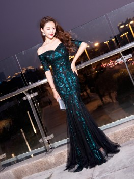 Sequin Evening Dress Mesh Robe Noble Elegant Off Shoulder Vestidos De Fiesta Sparkling Night Gowns Plus Size Long Robe Sukienki