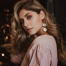 New Dripping Oil Punk Gold Earring for Women Zinc Alloy Hyperbole Heart Dangle Earring Wedding Party Jewelry Accessories