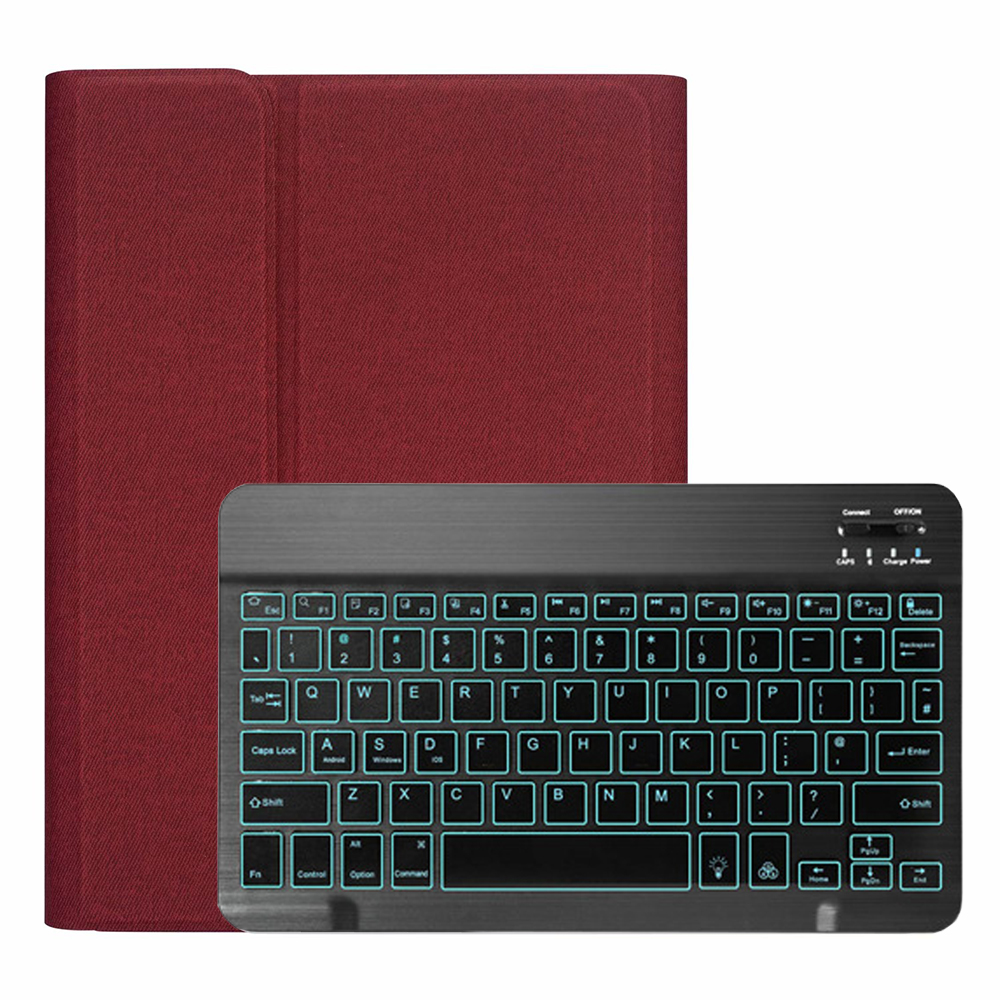 Red with Black Black Backlit Keyboard Case for iPad 10 2 2019 7 7th 8th Generation with Pen Slot A2197