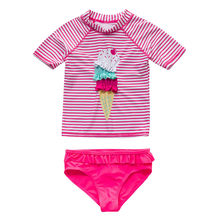 Sommer Baby Mädchen Kleinkind Kinder Bademode Badeanzug Bademode Bikini Set Striped Cartoon Tops Shorts Tankini Badeanzug Kostüm(China)