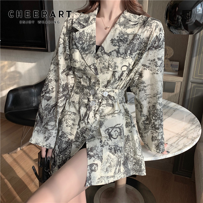 Cheerart Vintage Long Blazer Women Floral Print Blazers And Jackets Coats Female Blazer With Belt Fall 2019 Clothing