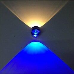 Led dwustronna kryształowa ściana lampa w górę iw dół oświetlenie wewnętrzna lampa aluminiowa 2w6w dekoracja ścienna w tle lampa światła korytarz