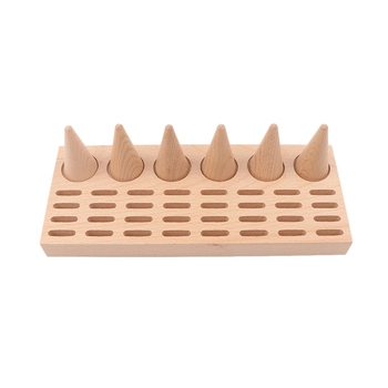 Natural Wood Finger Ring Stand Jewelry Display Holder Showcase Bracelets Display