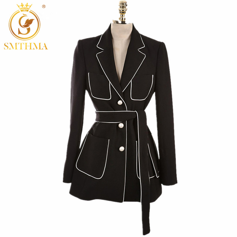 SMTHMA 2019 New High Quality Runway Single Breasted Black Blazer Notched Collar Women Long Sleeve Blazers Feminino Free Belt