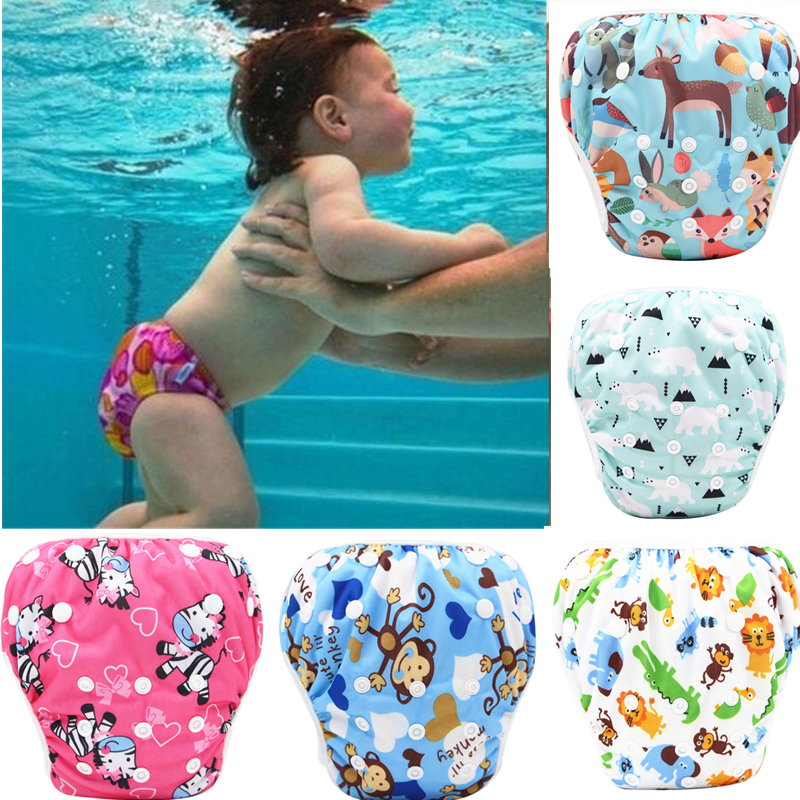 2021 New Baby Swim Diapers Waterproof Adjustable Cloth Diapers Pool Pant Swimming Diaper Cover Reusable Washable Baby Nappies