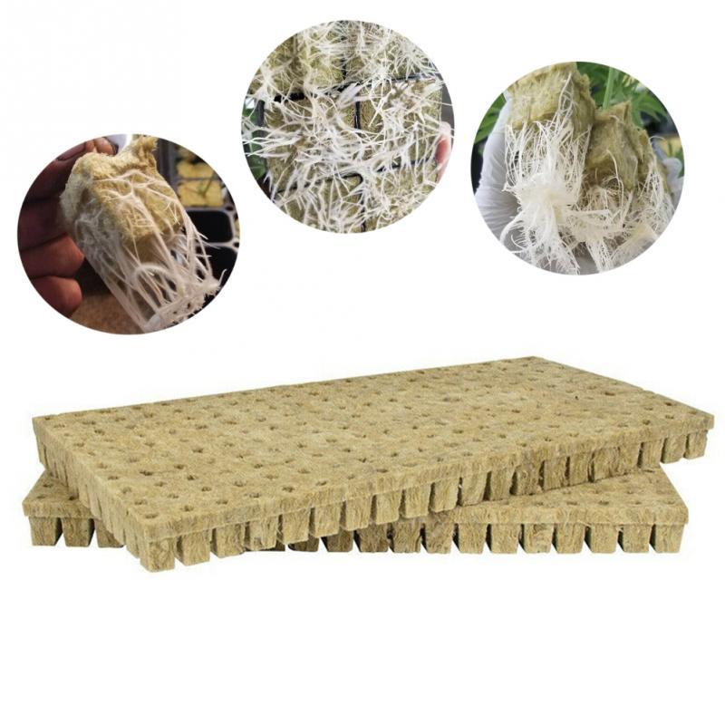 50 Pcs/sheet Soilles Plantin Soilless Sponge Planting Grow Grodan Starter Cubes Rockwool Media Spread Cloning Rock Wool Cubes
