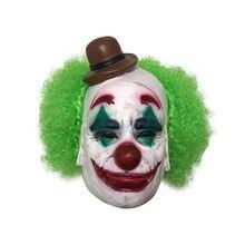 Маска Джокера из фильма Бэтмен Темный рыцарь Косплей страшная маска клоуна с зелеными волосами парик Хэллоуин Латексная Маска карнавальный костюм
