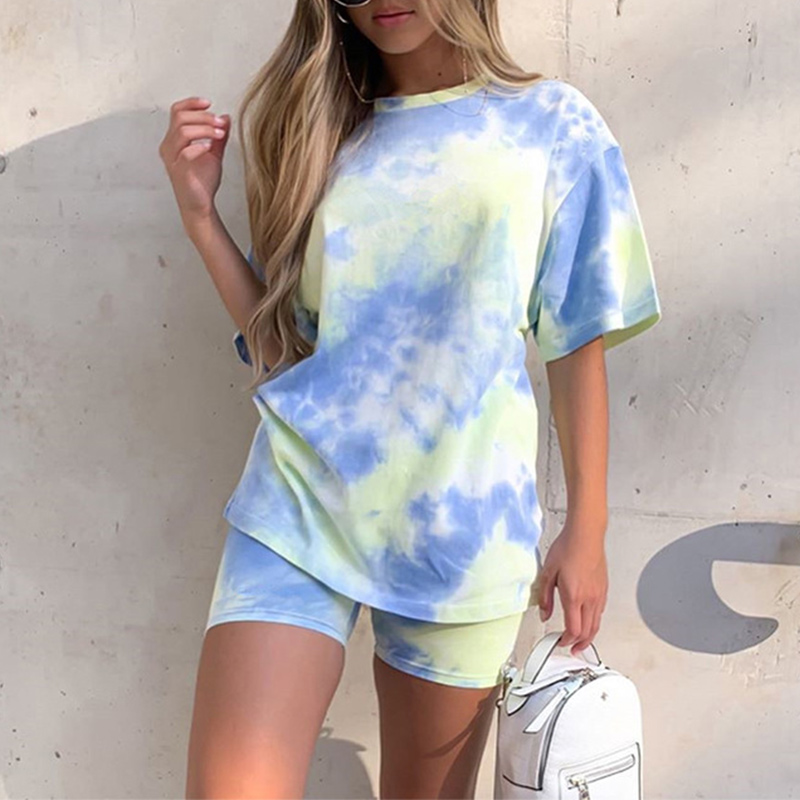 Tie Dye Printed Women's Tracksuit Set 2 Pieces Sets Short Sleeve Female T-shirts Suit 2020 Summer Casual Sport Lady Shorts Suits