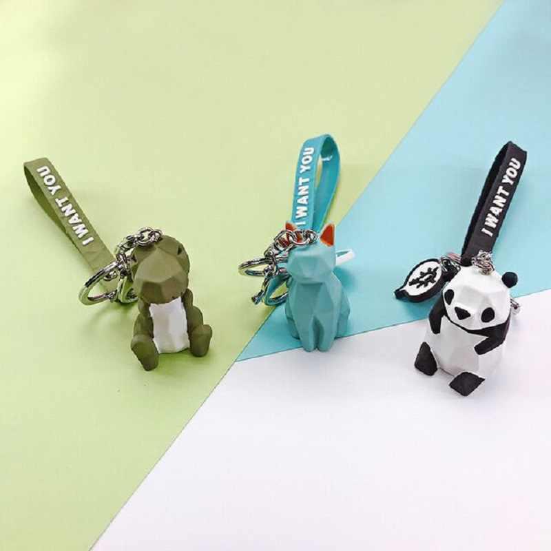 2019 lindo dinosaurio Panda cerdo Koala llavero de moda de dibujos animados PU llavero creativo coche bolsa teléfono MS colgante llavero regalo