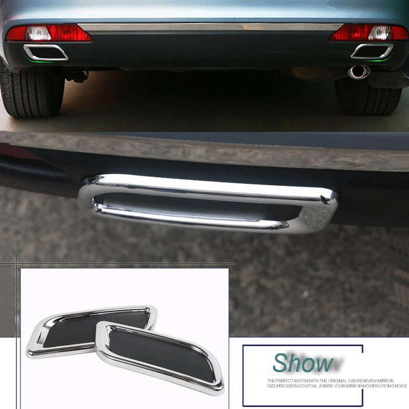 2 uds DIY Car Styling ABS cromado parachoques trasero decoración tubo de escape pegatinas de garganta para Citroen C4 C5 accesorios Elysee