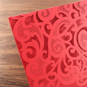 Image 4 - 25 stücke Luxuriöse Hochzeit Dekoration Lieferungen China Weiß Rot Laser Cut Hochzeits einladungen Elegante Hochzeit Einladung Karten
