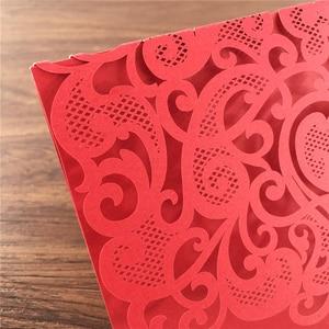 Image 4 - 25 個豪華な結婚式の装飾用品中国白赤色レーザーカット結婚式の招待状エレガントな結婚式の招待状カード