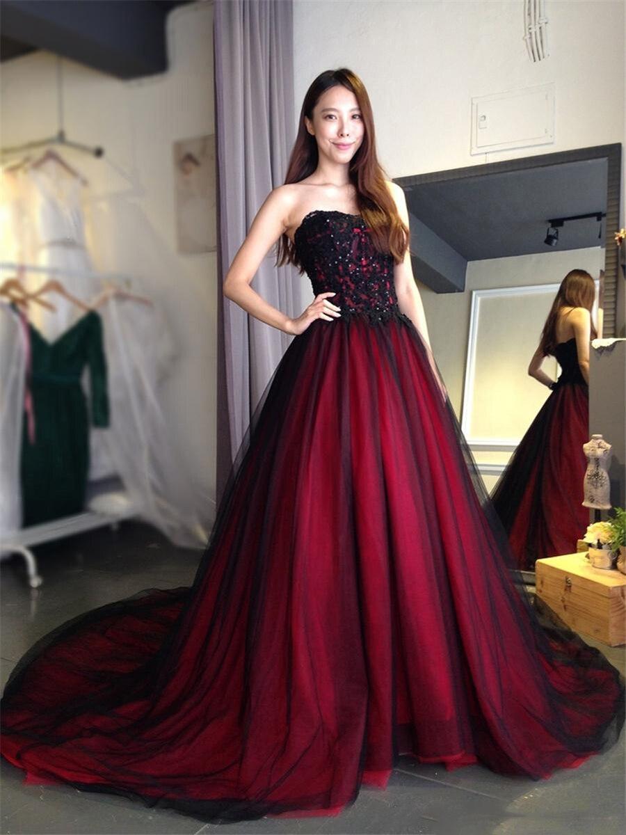 Готическое черное бургундское свадебное платье с милыми бусинами на шнуровке сзади, длинное свадебное платье со шлейфом на заказ