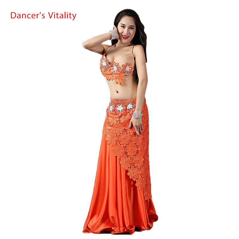 Lady Women Belly Indian Oriental Dance Sling Bra Diamond Skirt Suit Competition Performance Spandex Costume Rumba Samba Tango