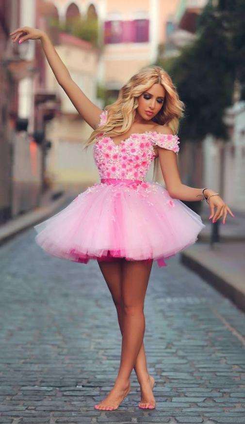 Lovely Off The Shoulder Robe De Soiree Short Pink Homecoming Flowers Mini Party Prom Tulle Graduation Gown Bridesmaid Dresses