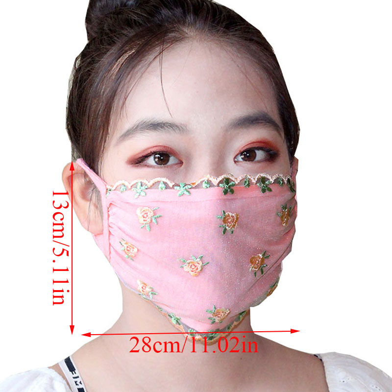 Women Floral Printed Mask Made With Lace Material For Travel Protection 2