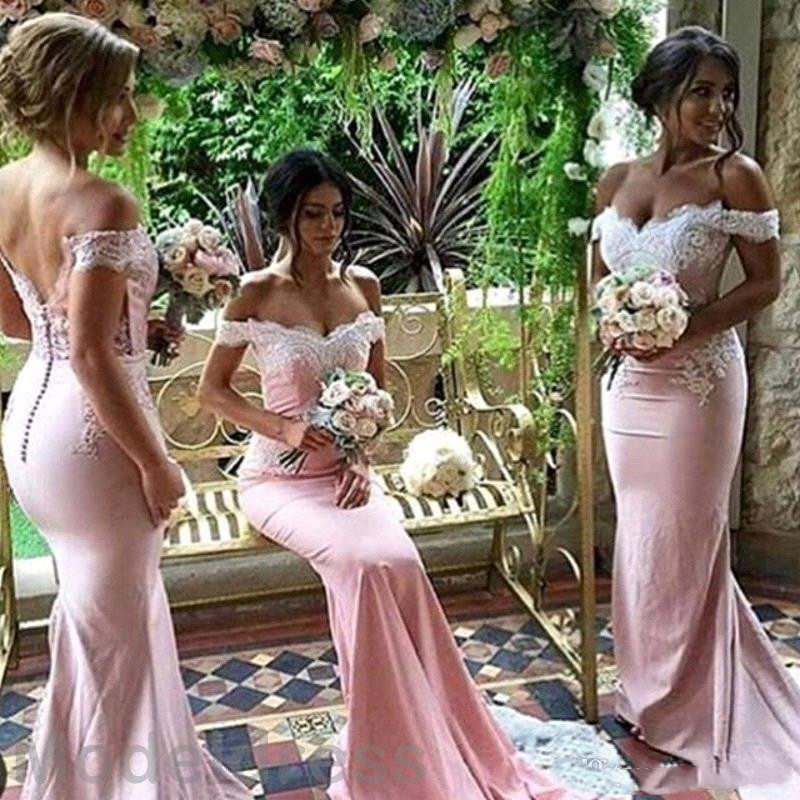2018 Sexy Off Shoulder Sweetheart Backless Cheap Real Images Wedding Guest Party Gown Blush Pink Mermaid Lace Bridesmaid Dress