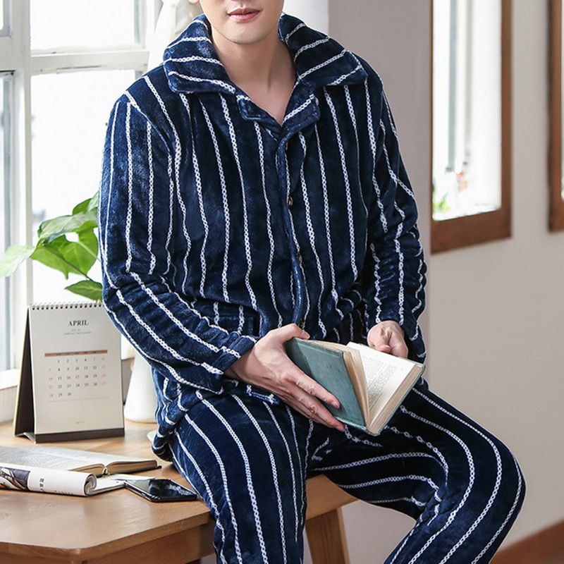 JODIMITTY Spring Thick Warm Blue Flannel Pajama Sets For Men Long Sleeve Coral Velvet Sleepwear Suit Loungewear Homewear Clothes