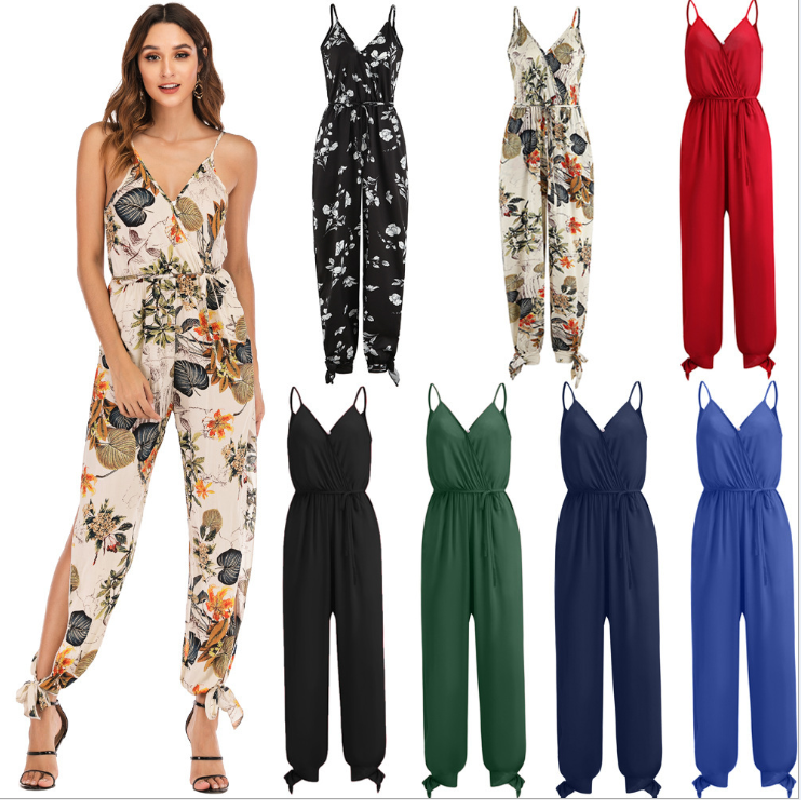 Fashion Sexy Women''s Backless Spaghetti Strap Long Jumpsuit Plus Size Solid Color Printing Lace Up Women''s Nine Points Jumpsuit