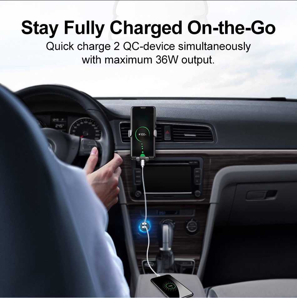 36W Dual Quick Charge 3.0 Car Charger