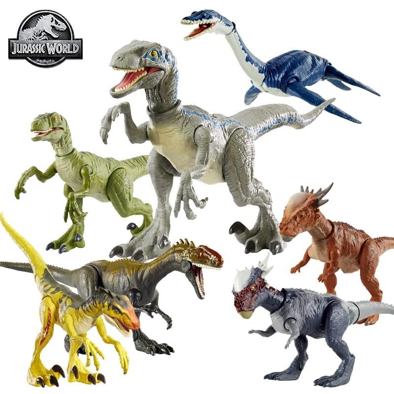 Original Jurassic World Dinosaur Figure Action Toy Velociraptor Plesiosaurus Stygimoloch Competitive Strike Move Joint Boys Toys