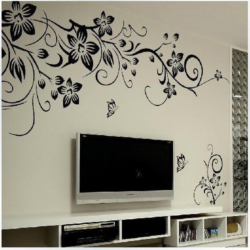 Wall Stickers Black Butterfly Flower Vine Living Room TV Background Decoration Home Decoration Posters