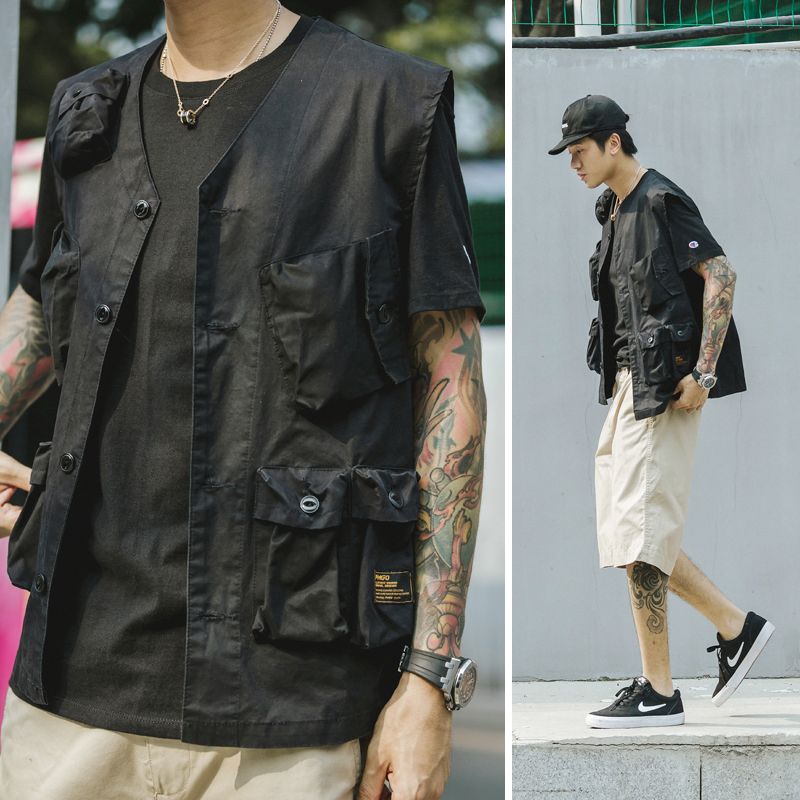 Safari Style! Multiple Pockets Cargo Vest Men's Thin Functional Tool Tactical Vests Men Streetwear Sleeveless Jacket