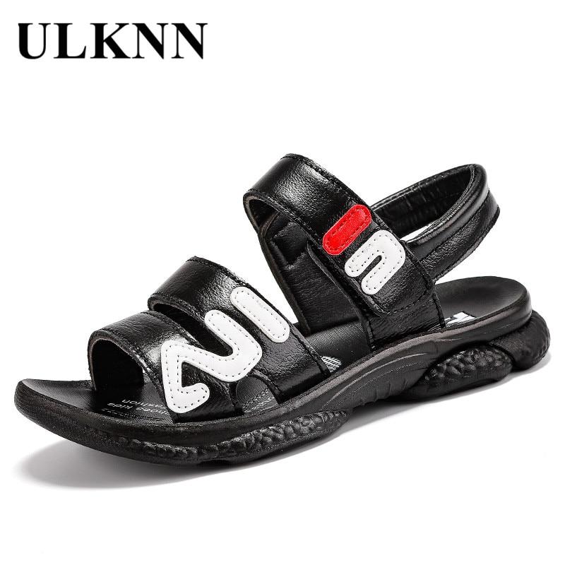 ULKNN BOY'S Genuine Leather Sandals 2020 Summer Big Boy Soft-Sole Anti-slip Trendy Shoes Korean-style Sandals CHILDREN'S Sandals