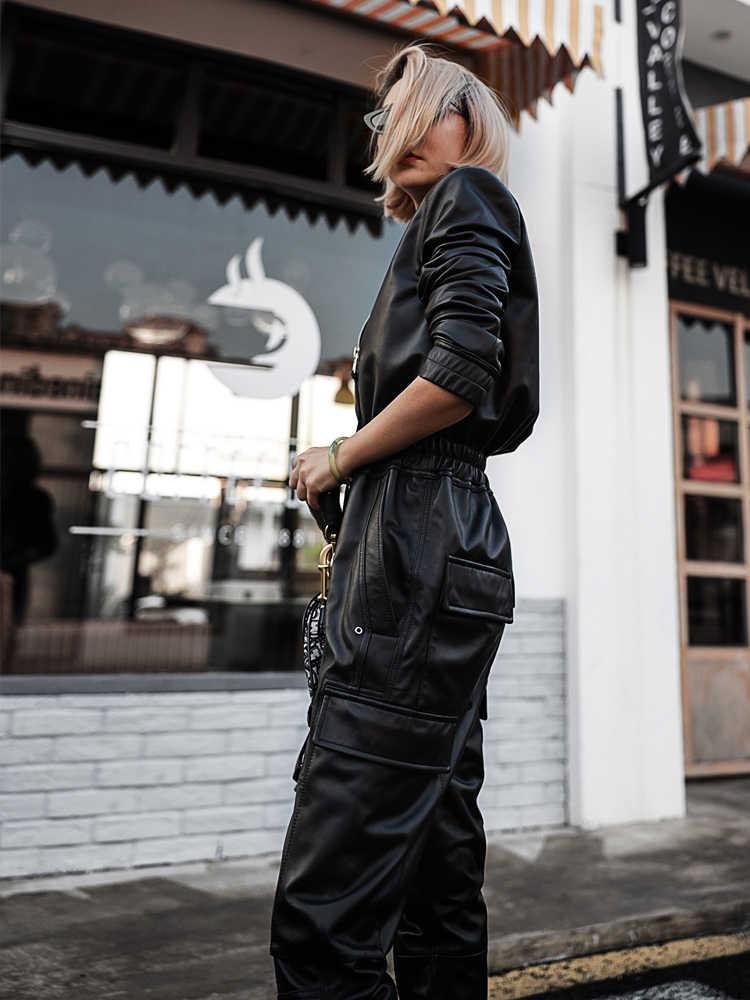 NerazzurriยาวสีดำหนังFauxหญิงยาวแขนยาวซิปPlusขนาดPuหนังJumpsuitsสำหรับผู้หญิง 2020 Streetwear