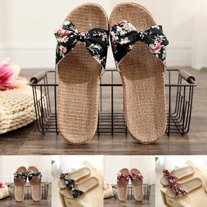 38# Women Summer Straw Beach Slippers Plus Size 35-43 Shoes Female Bowknot Flax Linen Flip Flops Beach Shoes Sandals Slippers