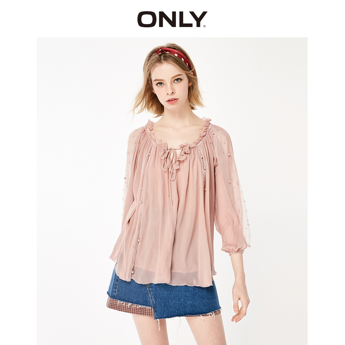 ONLY Women's Loose Fit Gauzy Lace-up Chiffon Shirt | 119151535 image