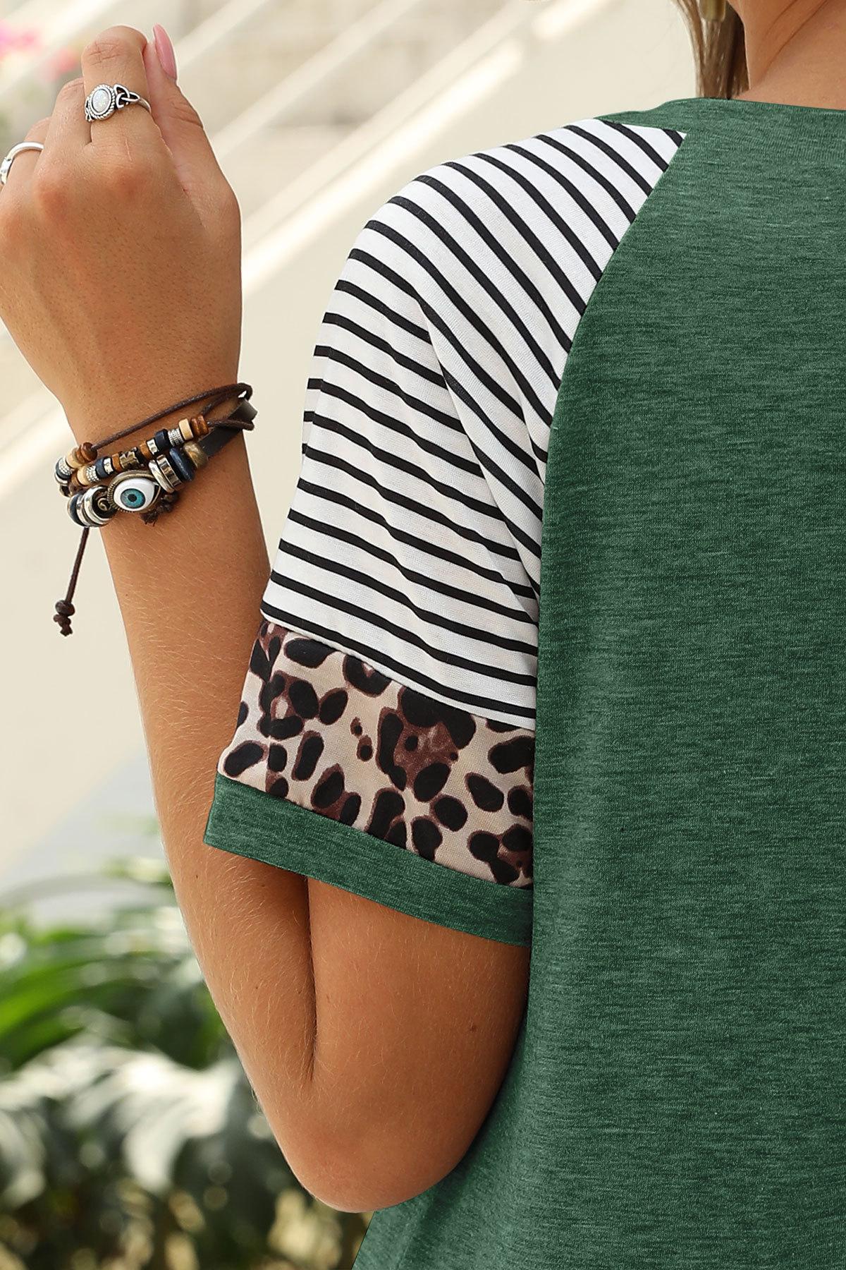 Sommer 2020 Kvinner Kortermet T-skjorter O-hals Leopard Print Topper Mote Avslappet Kvinner Streetwear skjorte Løse damer T-skjorter