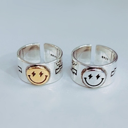 Happy Smiley Face Ring Sole Memory Retro Cute Smile Adjustable Ring Fashion Jewelry Women Men Wide Index Finger Tail Ring