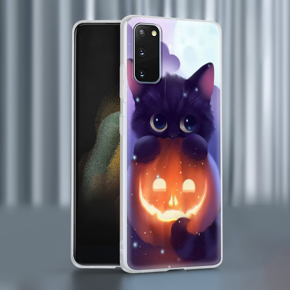 Case For Samsung Galaxy S20 FE S21 Ultra S9 S10 Plus S8 Note 20 10 Lite Soft Frosted Phone Cover S7 Funda Cute Black White Cat