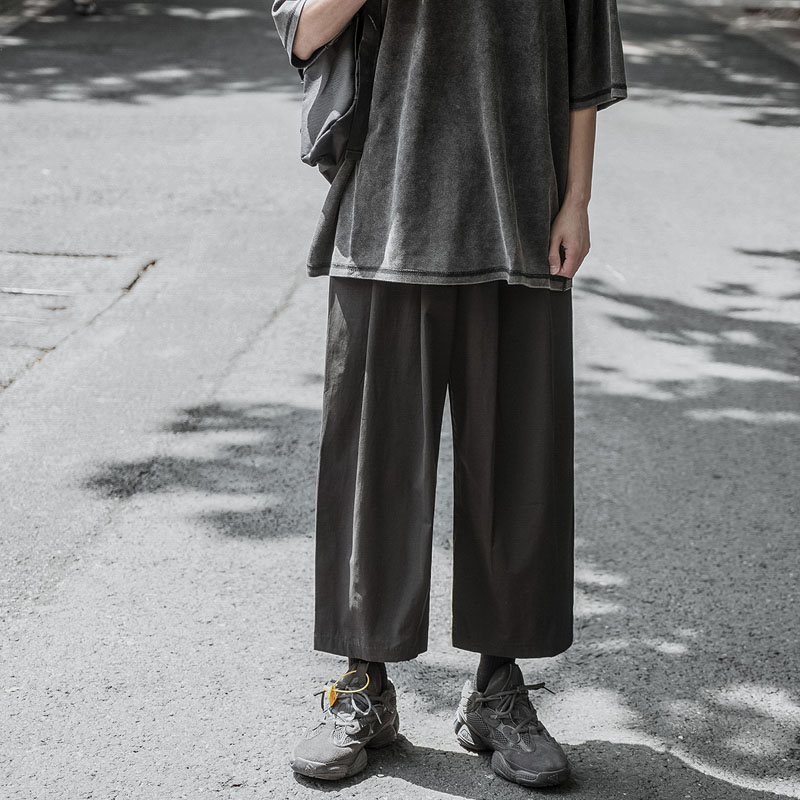 Men Women Spring Summer Loose Casual Ankle-lenth Pant Male Retro Fashion Streetwear Hip Hop Wide Leg Harem Pant Trousers