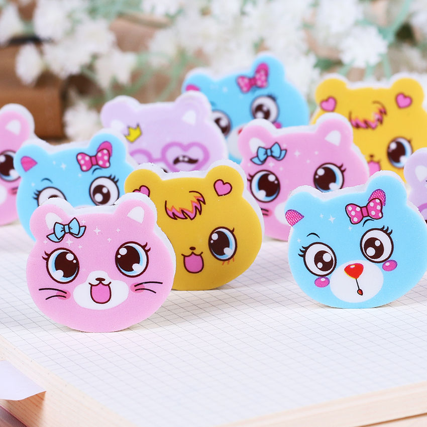 Mini Cute Cartoon Cat Rubber Eraser Student Learning Stationery For Kids Gift School Supplies 4 PCS