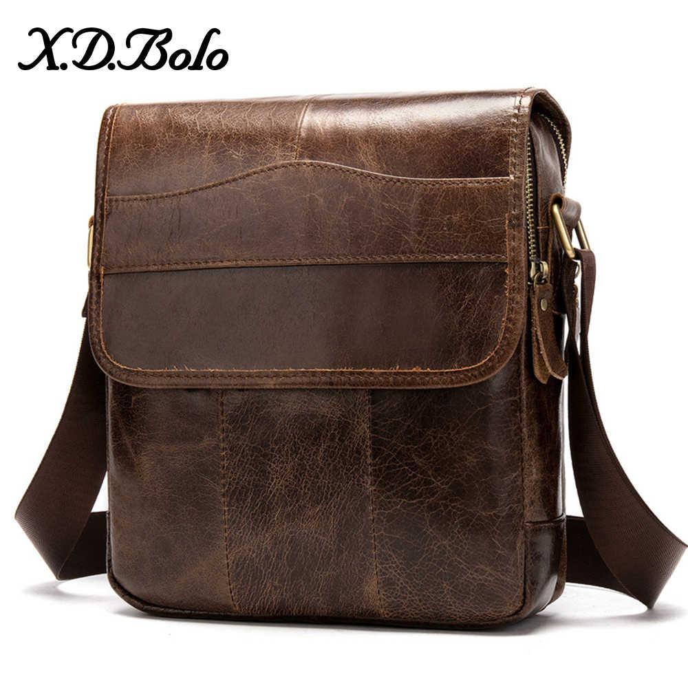 X. D. BOLO bolsa de mensajero para hombre bolsos de cuero genuino con solapa pequeña bolsa para hombre bandolera para hombre bolsa de cuero Natural