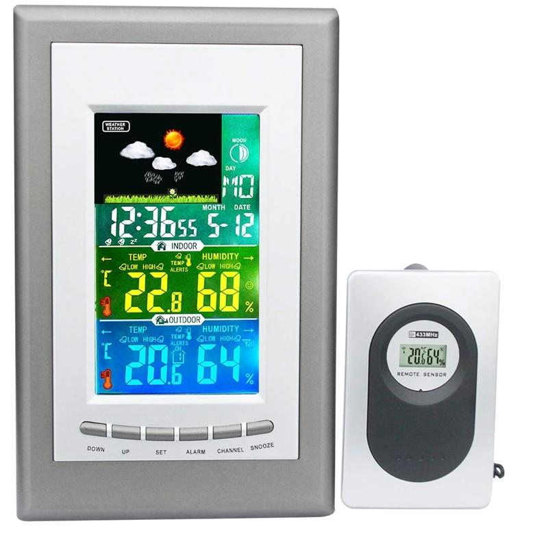 Многофункциональная цветная метеостанция с внутренним и наружным беспроводным датчиком Барометр термометр гигрометр прогноз погоды