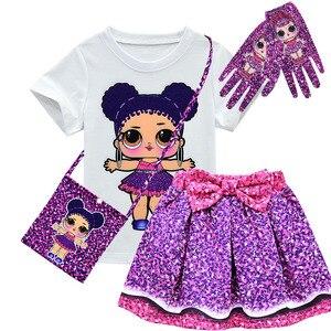 1 комплект, Детская футболка с коротким рукавом и юбка, платье, одежда для девочек, детское летнее платье принцессы с принтом куклы