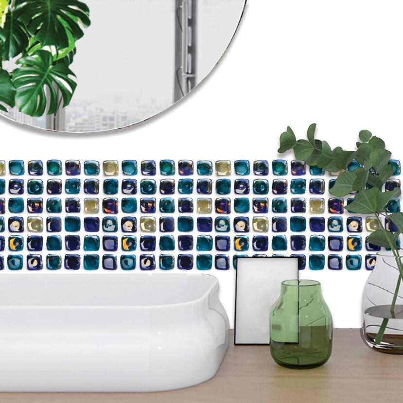 3d Blue Stone Wallpaper Borders Bathroom Waist Line Stickers Diy Beautiful Grid Table Cover Sticker Wall House Decoration EZ221