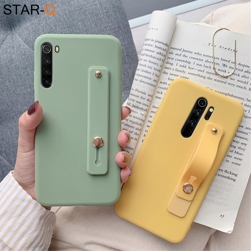 wriststrap phone holder silicone case for xiaomi redmi note 8 pro 8t 7 9 xiomi 7a 8a k30 k20 note 5 6 pro soft back cover(China)