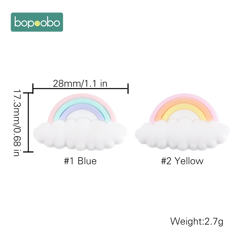 Bopoobo 20pc Silicone Tiny Rod BPA Free Beads Silicone Pearl Cloud For Baby Rattle Toys Silicone Teething Rodent Baby Teether