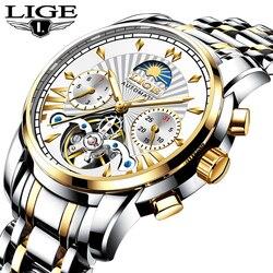 LIGE marka automatyczne mężczyźni mechaniczne oglądać klasyczne biznes zegarka mężczyzna Tourbillon wodoodporny męski zegarek Relogio Masculino