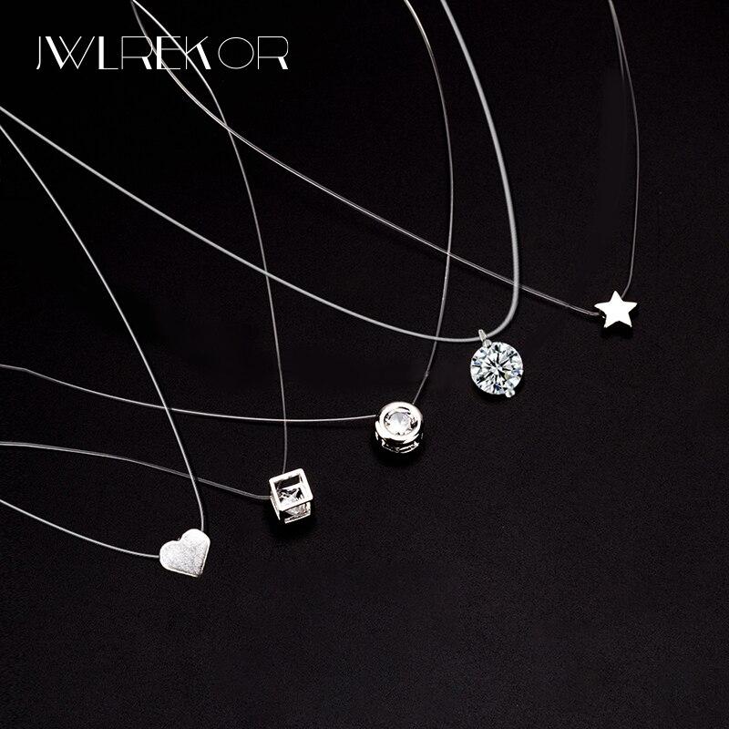 Female Transparent Line Necklace Silver Invisible Chain Necklace Pendants Rhinestone Choker Necklaces Clavicle Transparent Chain