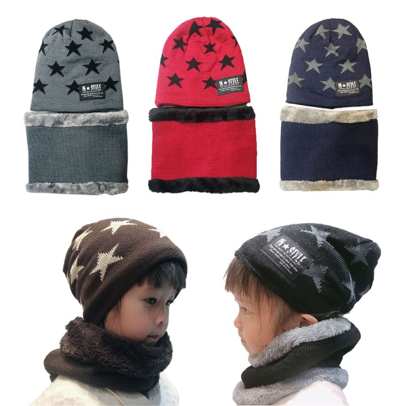 Kinder Gestrickte Schal Hut Set Kinder Baby Junge Mädchen Winter Warm Beanie Cap Schals